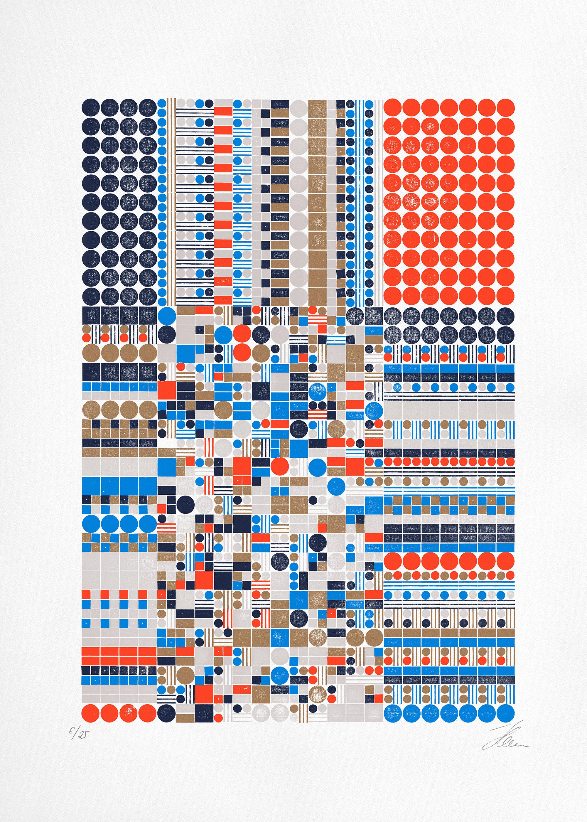Glitch B.5c.1 (Ed. of 25), Letterpress Print