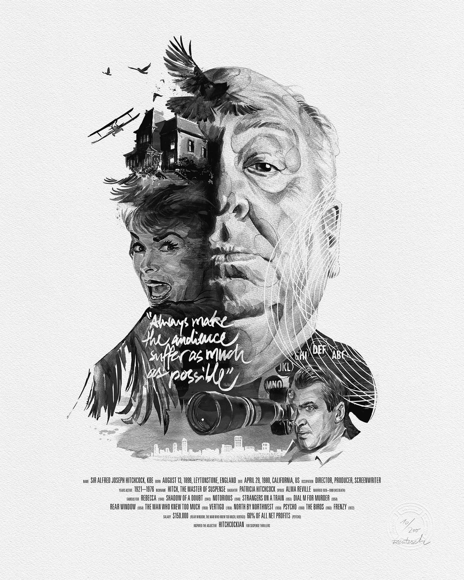 Movie Director Portrait, Alfred Hitchcock, Fine-Art Print