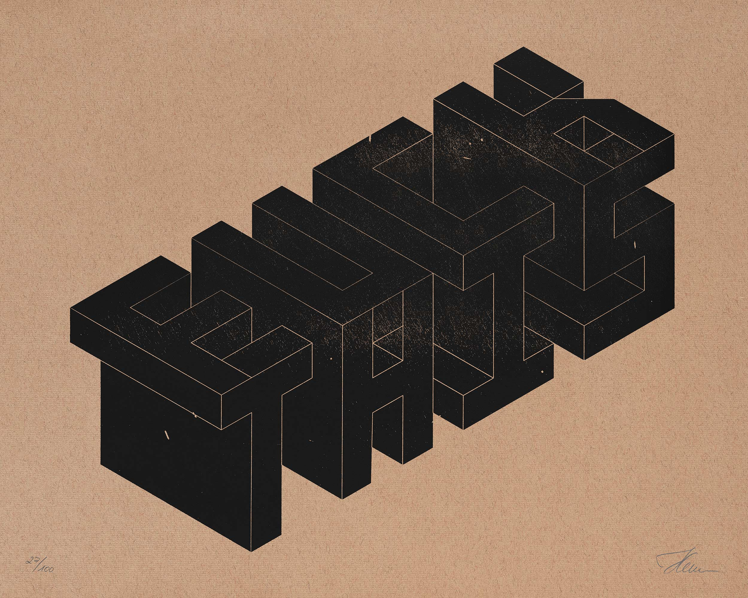 FUCK/THIS, Isometric Typography — Letterpress Print