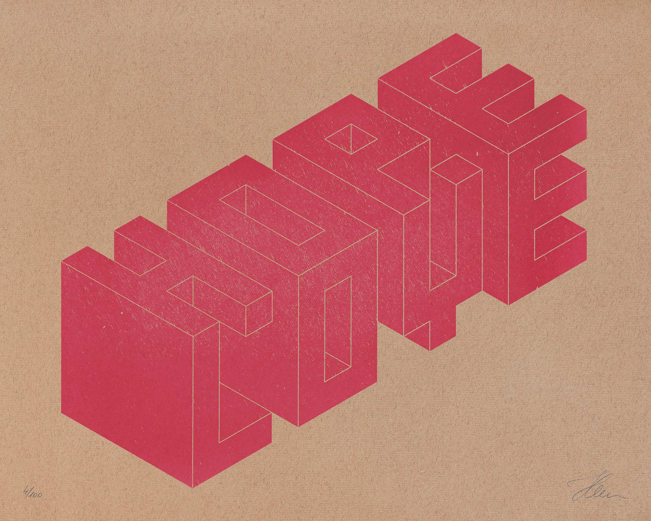 HOPE/LOVE, Isometric Typography — Letterpress Print