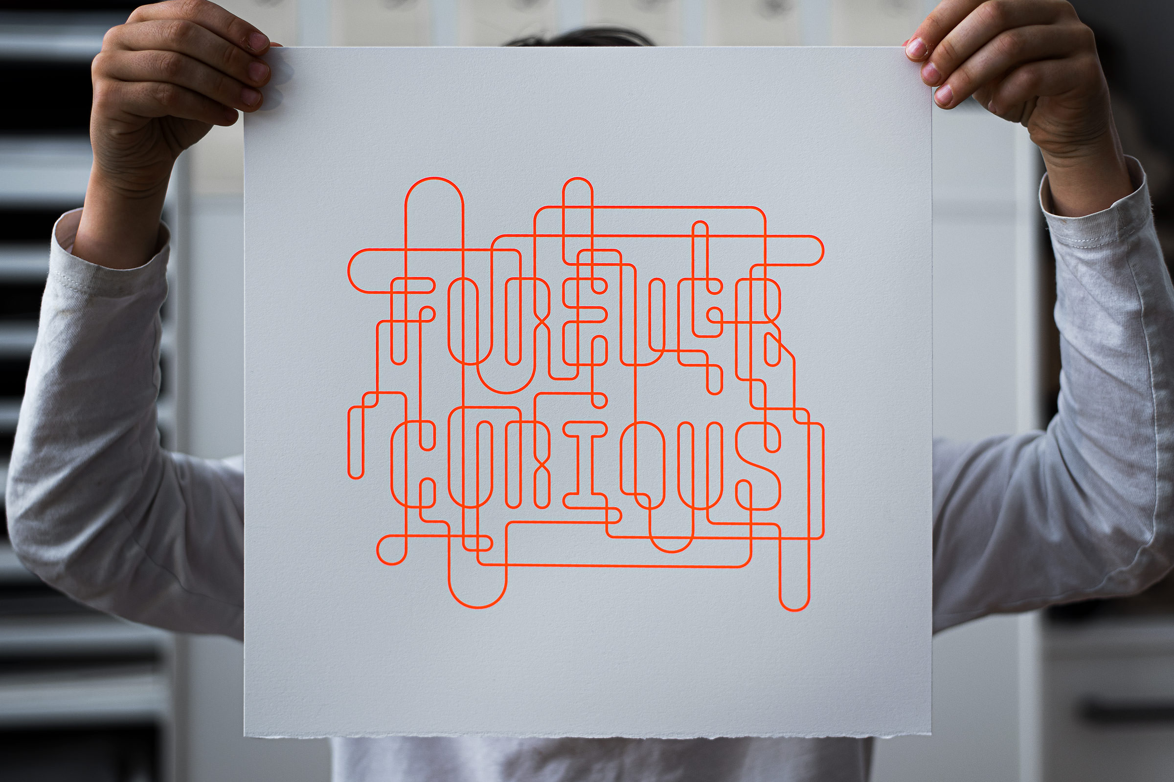 Forever Curious (Day-Glow Red) Silkscreen Print